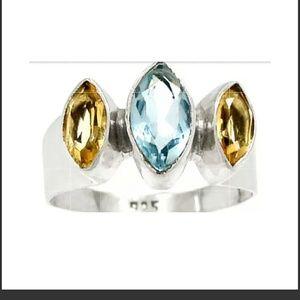 Blue Topaz& Citrine Sterling Ring
